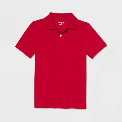 Boys' Short Sleeve Performance Uniform Polo Shirt - Cat & Jack™ Red