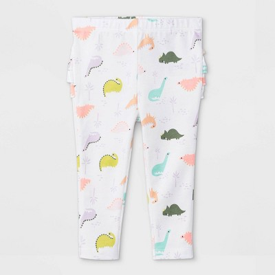 Baby Girls' Dino Ruffle Leggings - Cat & Jack™ White 3-6M