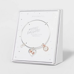 Mother Daughter Forever Heart and Butterflies Expandable Bangle Bracelet - Silver