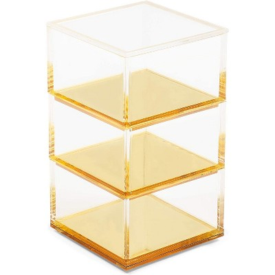 Okuna Outpost 3 Tier Clear Acrylic Stacking Desk Organizer with Gold Bottom (3 x 3 x 5.3 In)