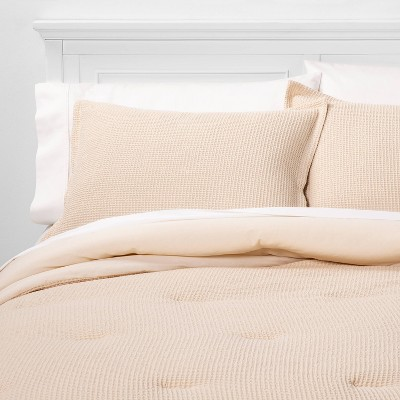 King Washed Waffle Weave Comforter & Sham Set Brown - Threshold™