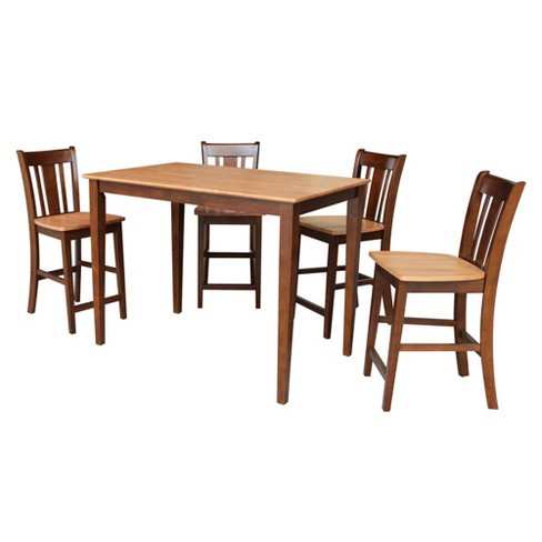 """30""""x48"""" Sanders Counter Height Dining Table with 4 Stools Espresso Brown - International Concepts - image 1 of 4"""