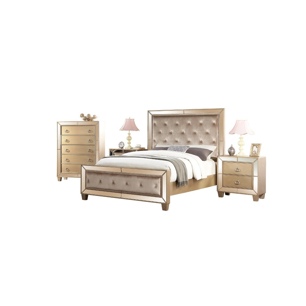 Image of 4pc Claudine Mirrored Tufted Bedroom Set Gold - Abbyson Living, Brown