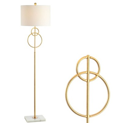 """60"""" Marble Haines Modern Circle Floor Lamp (Includes LED Light Bulb) Gold - JONATHAN Y"""