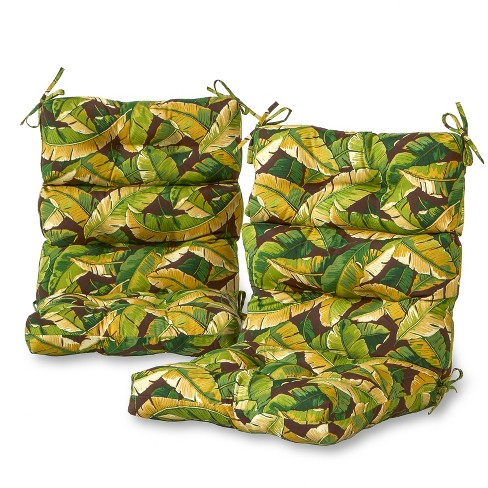 Set of 2 Outdoor High Back Chair Cushions - Palm Leaves Green - Greendale Home Fashions - image 1 of 3