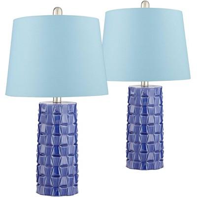 360 Lighting Mid Century Modern Table Lamps Set of 2 Blue Ceramic Hardback Drum Shade Decor for Living Room Bedroom House
