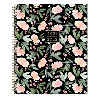 """2021-22 Academic Weekly/Monthly Planner 8.5"""" x 11"""" Soft Blooms Dark - Yao Cheng"""