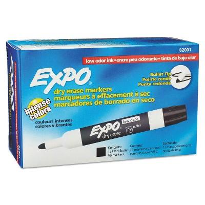 EXPO Low Odor Dry Erase Marker Bullet Tip Black Dozen 82001