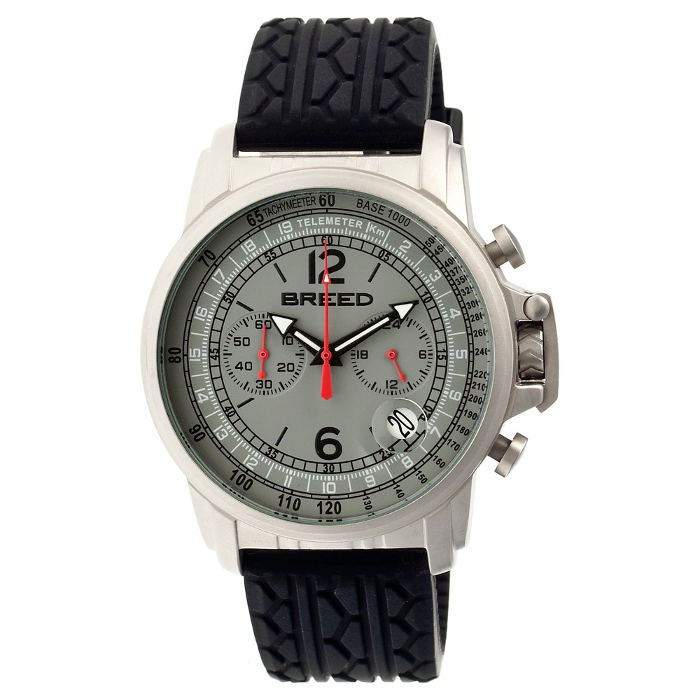 Men's Breed Nash Full-Function Chronograph Tire-Tread Silicone Strap Watch-Silver/Gray, silver grey