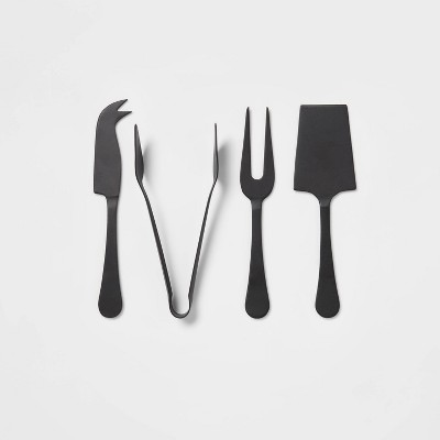 4pc Stainless Steel Cheese Knive Serving Set Black - Threshold™