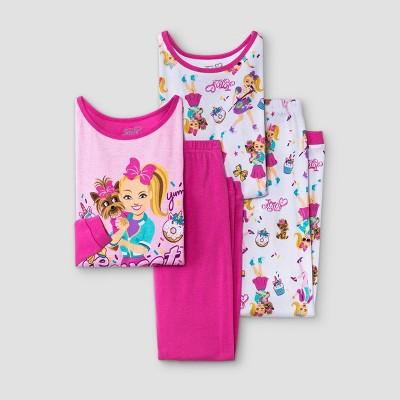 Girls' JoJo Siwa 4pc Pajama Set - Pink/White
