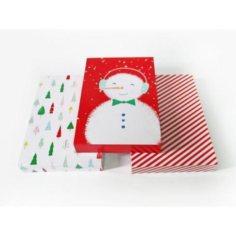 3ct Shirt Gift Box Stripes Snowman Christmas Trees Wondershop