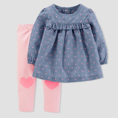Baby Girls' Hearts 2pc Chambray Pants Set - Just One You® made by carter's Blue Baby