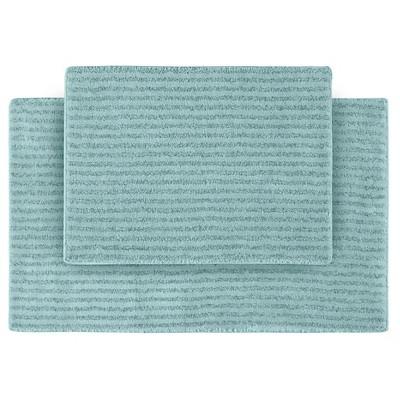 2pc Sheridan Plush Washable Nylon Bath Rug Set Sea foam - Garland