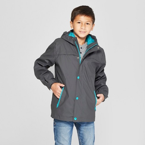 Boys' 3 in 1 Rain Jacket - Cat & Jack™ Charcoal - image 1 of 4