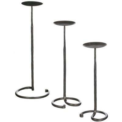 """Sullivans Set of 3 Pillar Candle Holder 20""""H, 17""""H & 14.25""""H Black"""