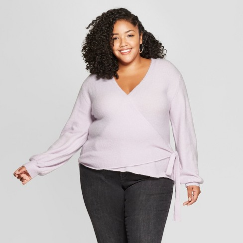 Women's Plus Size Wrap Sweater - A New Day™ - image 1 of 3