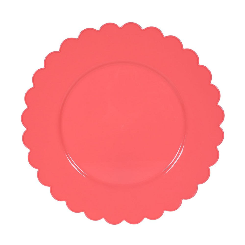 Scalloped Plastic Snack Dinner Plate - Spritz, Coral Red