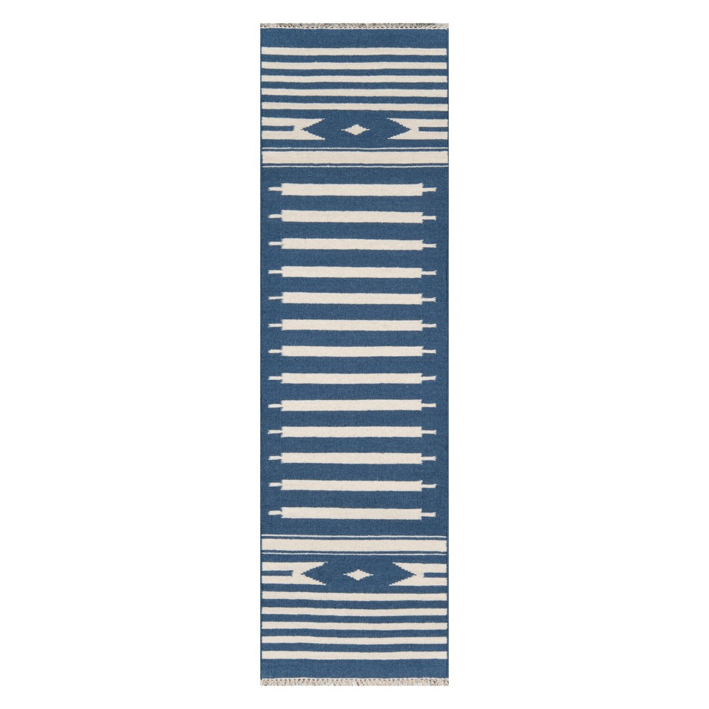 Image of 2'3X8' Geometric Woven Runner Denim (Blue) - Erin Gates By Momeni