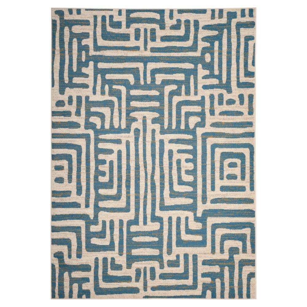 Ivory/Light Blue Shapes Loomed Area Rug 6'7