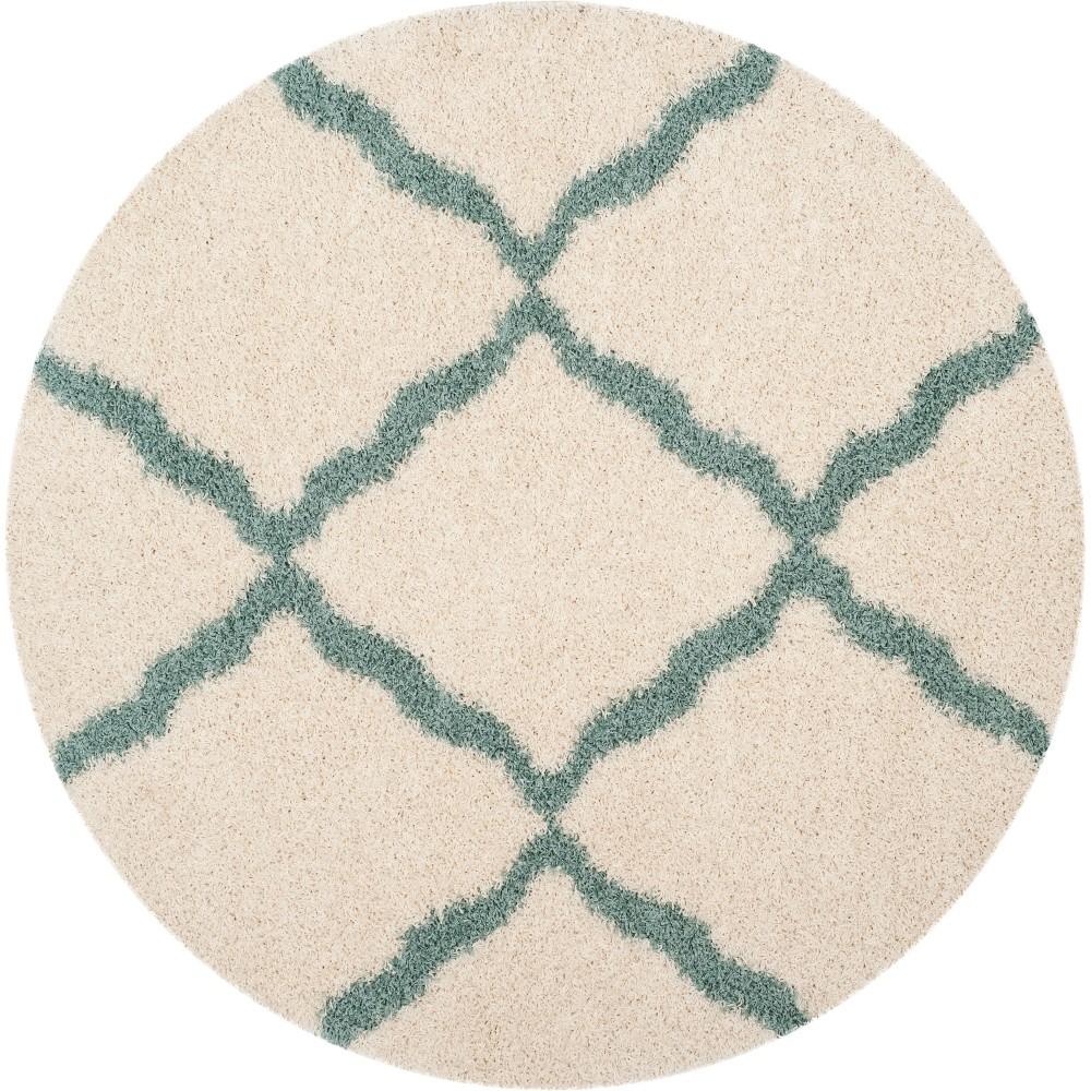 6' Quatrefoil Design Loomed Round Area Rug Ivory/Sea Foam Green - Safavieh
