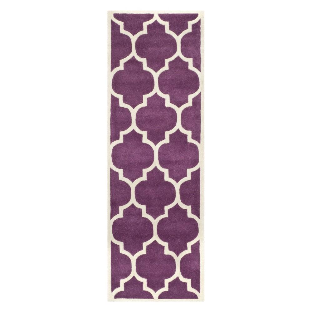 23X11 Quatrefoil Design Tufted Runner Purple/Ivory - Safavieh Discounts