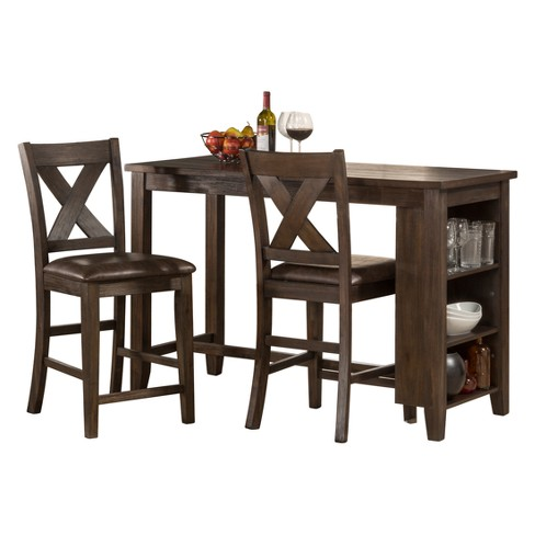 Spencer Three Piece Counter Height Dining Set With X Back Stools Wood Dark Espresso Brown Faux Leather Hilale Furniture