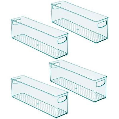 mDesign Small Storage Organizer Bin for Breast Milk/Formula, 4 Pack - Sea Blue