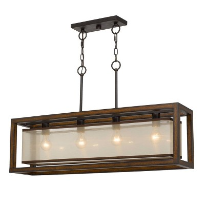 """(36"""" x 8"""") 4 Light Rubber Wood Island Chandelier with Organza Shade Brown - Cal Lighting"""