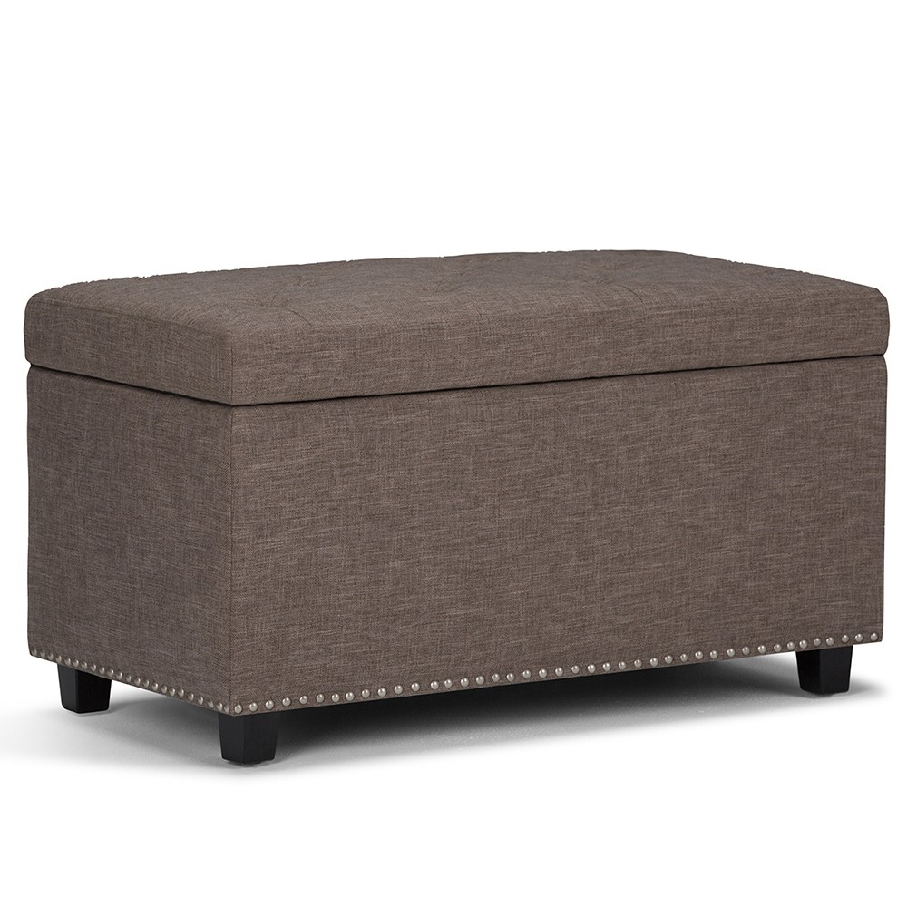 Reese Storage Ottoman Bench Fawn Brown Linen Look Fabric - Wyndenhall