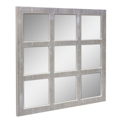 9 panel window pane mirror gray 24 x24 stonebriar target