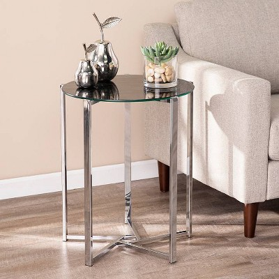 Dandelion Round End Table with Faux Marble Glass Top Silver - Aiden Lane