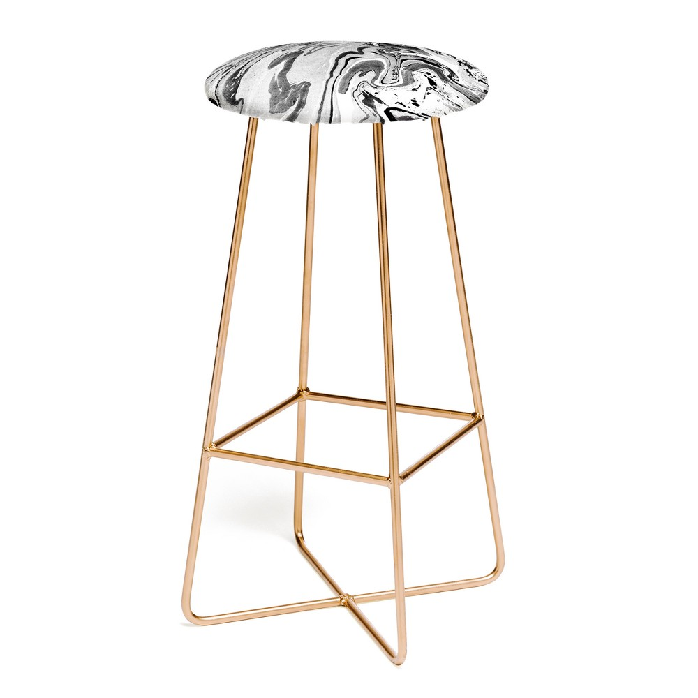 Image of Amy Sia Marble Monochrome Black Bar Stool - Deny Designs, Black and Gold