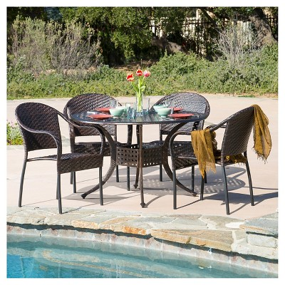 Sunset 5pc Wicker and Cast Aluminum Dining Set - Bronze/Brown - Christopher Knight Home