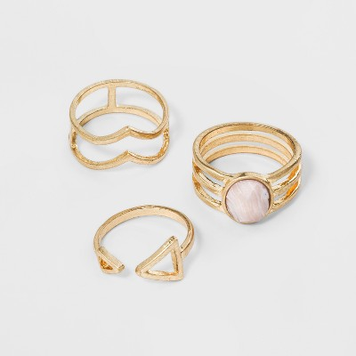 Open Work with Faceted Stone Ring Set 3pc - Universal Thread™ Gold