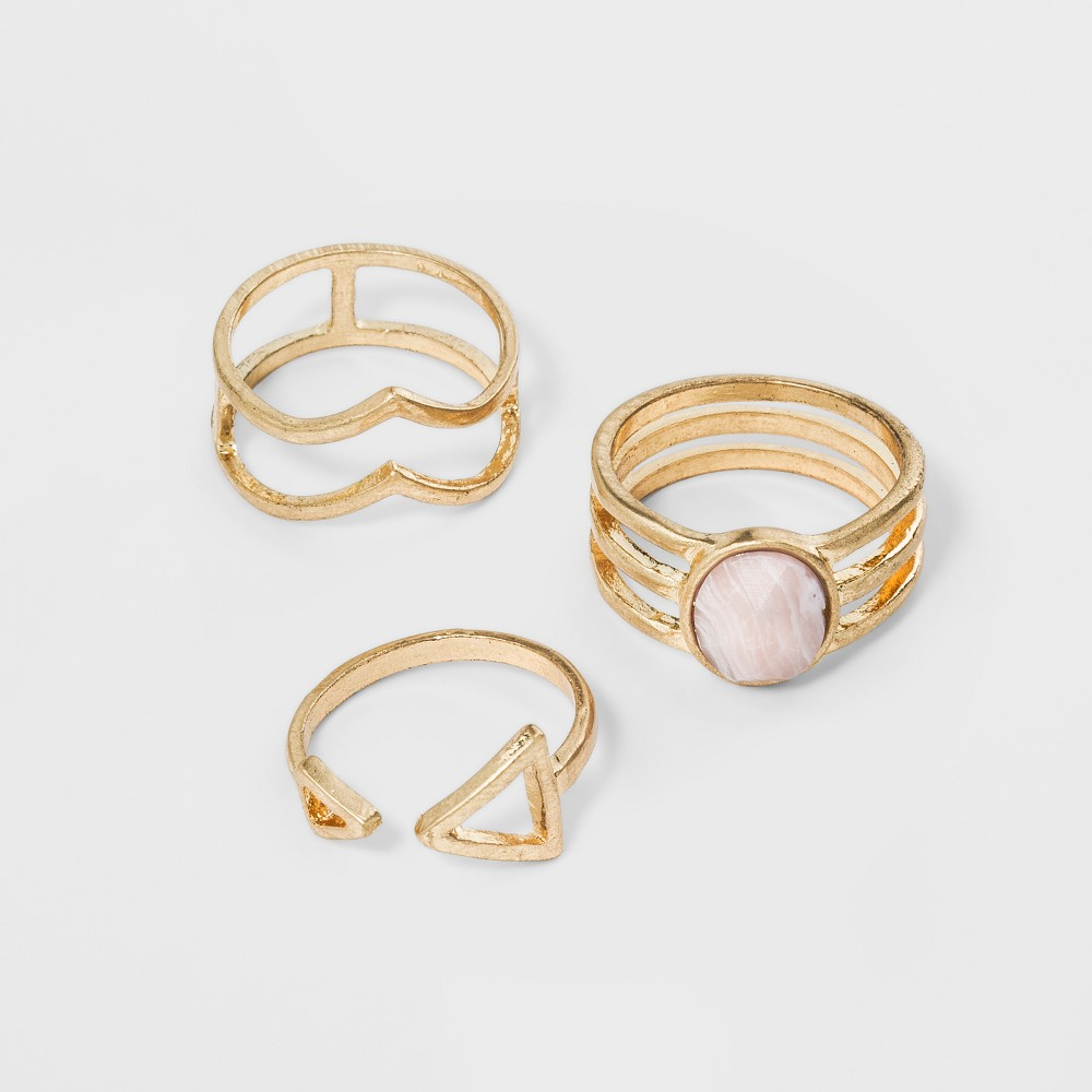 Best Price Open Work With Faceted Stone Ring Set 3pc Universal Thread Gold