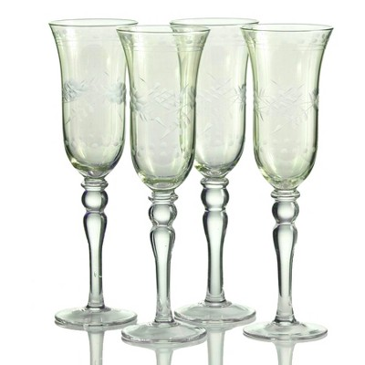 Home Essentials Green Cut Luster 6 Ounce Vintage Style Flute Glass, Set of 4