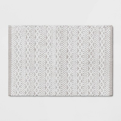 "20""x32"" Chenille Bath Rug Gray/White - Threshold™"