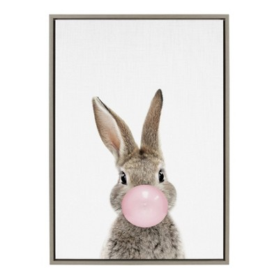 """23"""" x 33"""" Sylvie Bubblegum Bunny Framed Canvas Wall Art by Amy Peterson Gray - Kate and Laurel"""
