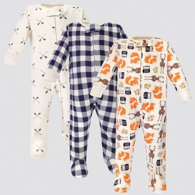 Hudson Baby 3pk Forest Zipper Sleep N' Play - Off White/Orange/Blue