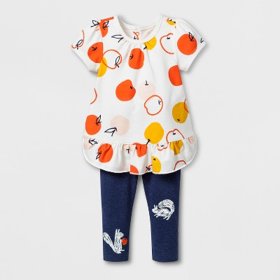 Baby Girls' 2pc Ruffle Hem Jersey and Leggings Set - Cat & Jack™ Navy 3-6M