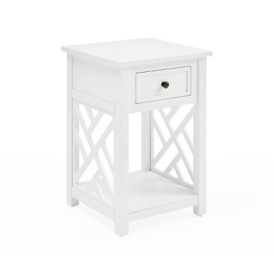 Middlebury Wood End Table with Drawer White - Alaterre Furniture