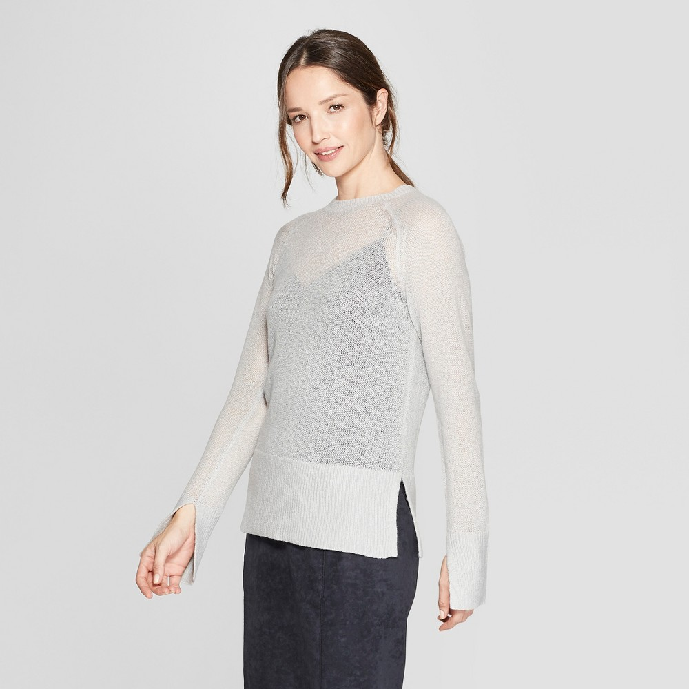 Women's Long Sleeve Sheer Pullover Sweater - Prologue Gray L