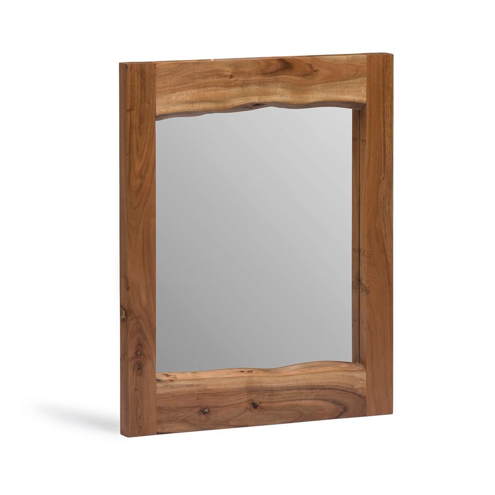"Image of ""24"""" Alpine Live Edge Wood Mirror Natural - Alaterre Furniture, White"""