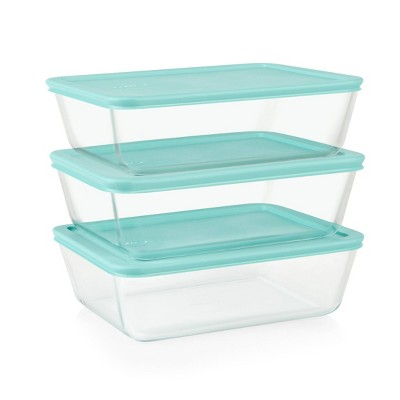 Pyrex Simply Store 6pc Glass Rectangular Food Storage Container (3 dishes, 3 lids) Set