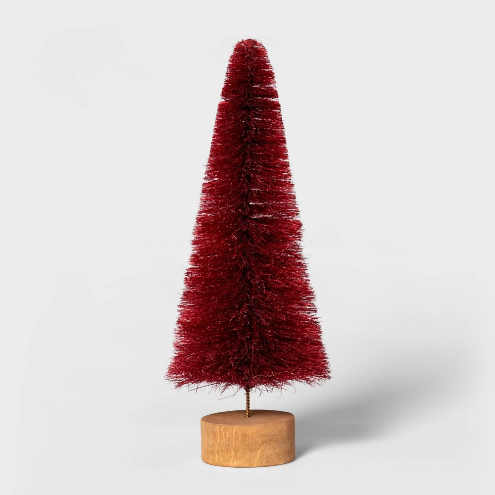 "Image of ""10.5"""" x 3.9"""" Bottle Brush Christmas Tree with Wooden Base Red - Threshold"""
