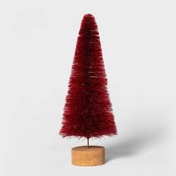 "10.5"" x 3.9"" Bottle Brush Christmas Tree with Wooden Base - Threshold™"