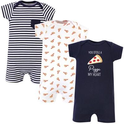 Hudson Baby Infant Boy Cotton Rompers 3pk, Pizza