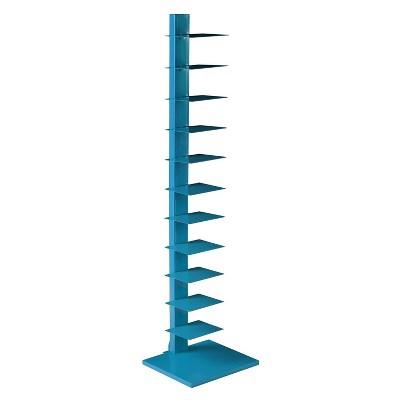 SEI Furniture HZ9491 65 Inch Freestanding Adjustable 12 Tier Modern Metal Spine Tower Book Media Shelf Decor Organizer Storage Case, Blue
