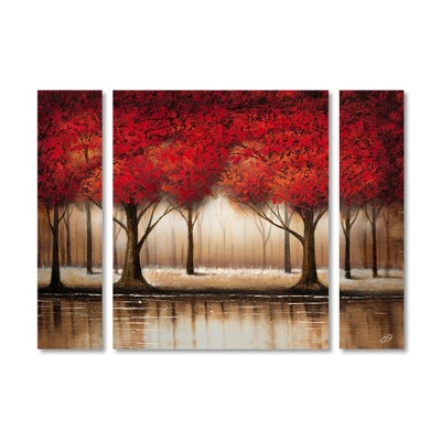 "24"" x 32"" Rio 'Parade of Trees' Multi Panel Unframed Wall Canvas - Trademark Fine Art"